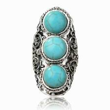 Tebetan Silver Turquoise Statement Cocktail Three Stone Finger Stunning Ring