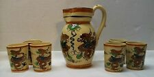 Double Dragon Pitcher with Six Matching Dragon Orb Cups Vintage Japanese
