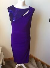 PIED A TERRE Purple Sequin Neckline Bodycon Wiggle Dress, Size 12, Cocktail NYE