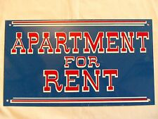 Vintage Metal Sign APARTMENT FOR RENT 1960s Red White Blue 1970s