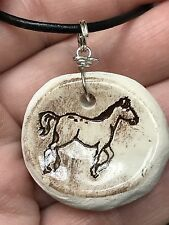 "Horse Worry Stone Handmade Pottery Native American 18"" Black Rope Necklace A"