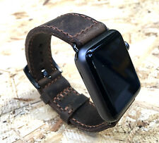 Quality Handmade Vintage Brown Leather Watch Strap Band Fits Apple Watch 42mm