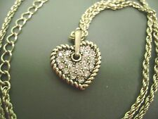 RADIENT PAVE HEART CRYSTAL  GOLDTONE  PENDANT  NECKLACE