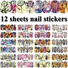 12 Sheet Nail Art Transfer Sticker 3D Design Manicure Tips Decal Decoration Tool
