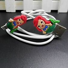 USB Data Cable Charger Cable Sync Cord with Cute Ariel for iphone 5C/5S/6/6plus