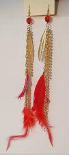 Boucles d'Oreilles Pendantes Plume & Perle Rouge A33