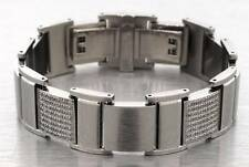 "24mm Wide Lab Diamond CNC Set MENS STAINLESS STEEL BRACELET 8"" HIP HOP BLING ICE"