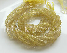 "Full 13"" strand LEMON QUARTZ faceted gem stone rondelle beads 4mm - 4.5mm"