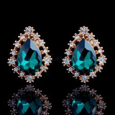 CLASSY 18K GOLD PLATED EMERALD GREEN STUD EARRINGS CZ CRYSTALS