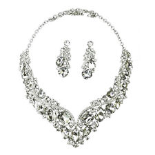 Rhinestone Crystal Earrings and Necklace Costume Bridal Jewelry Sets Wedding FK