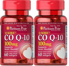 2X Puritan's Pride CoQ10, CO Q-10, CoQ-10, 100mg 60 Softgels * MADE IN USA*