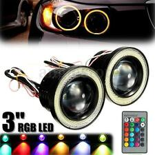3'' LED RGB Multi Color Projector White Halo Ring Angel Eye Fog Lights Car NEW