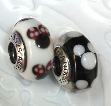 2 pc Authentic Pandora silver 925 Ale murano bead charm Disney Minnie Mickey