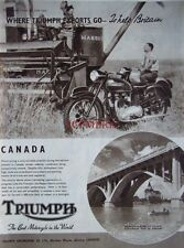 1950 TRIUMPH Motor Cycle AD Saskatoon Bridge Canada - Original Print ADVERT
