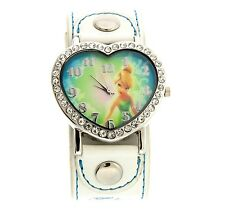 Disney Tinker Bell Wrist Watch Heart  Rhinestone White Band