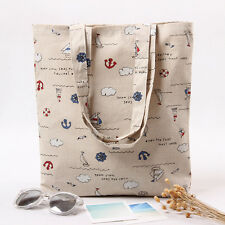 1-layer Cotton Linen Eco Reusable Shopping Shoulder Bag Tote Sailing Boat L247 G
