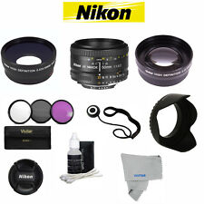Nikon Nikkor 50mm F/1.8 AF Lens +ACCESSORY KIT FOR NIKON D3000 D3300 D5000 D5100