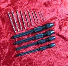 Nuevo 4Pc Pin Vice & 10Pc Mini Taladros Modelo Artesanal edificio & Joyería Making Tools