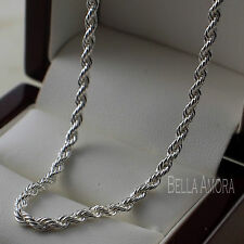 "Unisex Mens Ladies 925 Stamped Silver Pltd Twist Rope Chain Necklace 19"" -UK 212"
