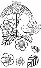 Unmounted rubber stamp Bird with Umbrella