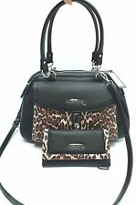 GUESS Handbag & Wallet Set *Kendal*Black/Leopard Satchel Shoulder Purse New
