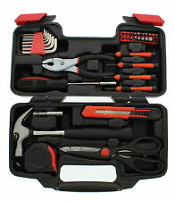 ABN 39 Piece General Household Hand Tool Kit Starter Set in Plastic Storage