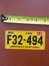 Wisconsin America's Dairy Land 1954 Mini Metal License Plate F32-494