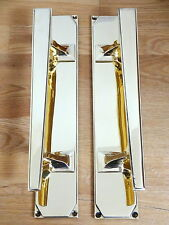 LARGE PAIR OF BRASS ART DECO DOOR PULL HANDLES KNOBS PLATES FINGER PUSH