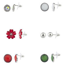 Lux Accessories Silver Tone Holiday Christmas Floral Multi Earring Set (6PCS)