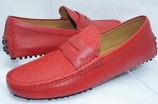 Gucci Men's Shoes Red Miro Soft Loafers Drivers Size G 11 Diamante Leather NIB