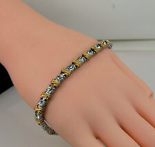 Ladies XOXO Gold/Silver Style Crystal Bracelet 20cm / 8 inches Bling Tennis Type