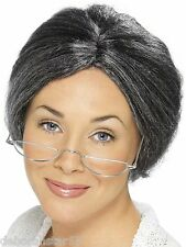 Grey Old Lady Granny Bun Wig 70s 80s 90s Teacher Fancy Dress Costume Smiffys O/S