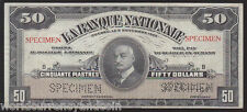CANADA $50 1922 QUEBEC LA BANQUE NATIONALE CANADIAN *SPECIMEN* CURRENCY BANKNOTE