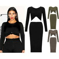 New Two Piece Knot Crop Top & Midi Pencil Skirt Stretch Co Ord Celeb Dress Set