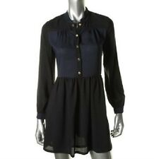 $218 NWT JUICY COUTURE Colorblock Black Blue Shirtdress Nordstrom Saks 2 XS
