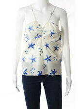 MARNI Blue Ivory Cream Cotton Spaghetti Strap Abstract Print Blouse Sz IT 44