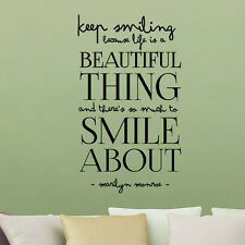 Keep Smiling Marilyn Monroe Lettering proverb Vinyl Wall Stickers Decor Decal