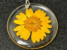 "Flower Sunflower Daisy Real Clear Resin Circle Charm Tibetan Silver 18"" Necklace"