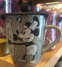 Disney Parks Willie Steamboat Ceramic Coffee Mug with Silicon Lid New