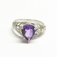 Sterling Silver Ring Size N Genuine Semi-precious Amethyst and Diamond Gemstones