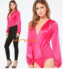 $89 NWT bebe hot pink v neck surplice long sleeve SILK wrap bodysuit top XS 0 2