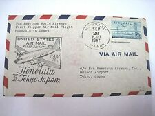Pan American First Clipper Air Mail Flight Honolulu, US to Tokyo Japan 1947
