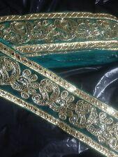 Fancy verde y oro lentejuelas indio 6.5 Cm de encaje de corte Nueva Venta 65mm Cinta De Organza