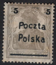 POLAND :1919  5 on 2pf yellowish-grey Gniezno provisional issue  SG 66 mint