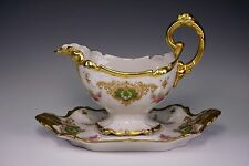 B & H Limoges France Hand Painted Gold Porcelain Sauce Gravy Boat & Under Plate