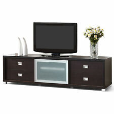 Botticelli Brown Modern TV Stand with Frosted Glass Door Furniture Home Media