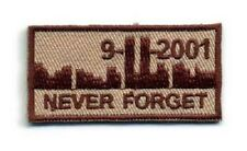 Tan Embrodery 25mm IFF Never Forget 911 Military Hook & Loop Ready Patch