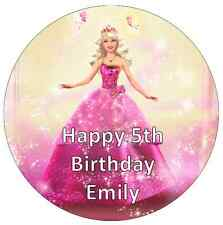 """Barbie Personalised Wafer Paper Topper For Large Cake Various Sizes 7.5"""""""