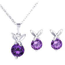 Argent et Violet Papillons Zircon Set Bijoux Boucles D'oreilles & Collier S656
