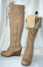 Schuh Knee High Lace Up + Zipped Real Leather Light Tan Wedge Heeled Boots UK 5